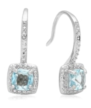 SILVER EARRINGS WITH TOPAZ AND DIAMONDS - TOPAZ EARRINGS - EARRINGS