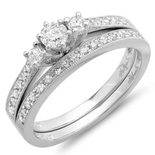 WEDDING AND ENGAGEMENT RING WHITE GOLD WITH DIAMONDS - WHITE GOLD RINGS - RINGS