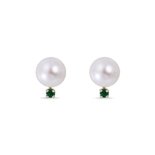 GOLD EARRINGS WITH FRESHWATER PEARL AND EMERALD - JEWELLERY BY KLENOTA