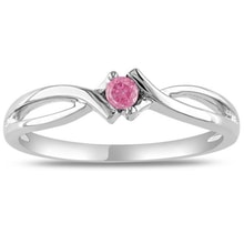 SILVER RING WITH PINK DIAMOND - ENGAGEMENT RINGS WITH COLOURED DIAMANTÉ - ENGAGEMENT RINGS WITH GEMSTONES