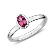 STERLING SILVER RING WITH PINK TOURMALINE - TOURMALINE RINGS - RINGS