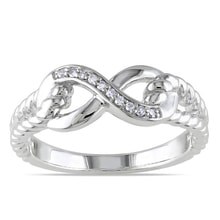 SILVER DIAMOND RING INFINITY - STERLING SILVER RINGS - RINGS