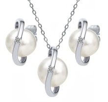 PEARL SILVER SET WITH DIAMONDS - PEARL SETS - PEARLS
