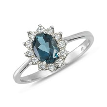 Sterling silver ring with topaz and CZ - Sterling silver rings