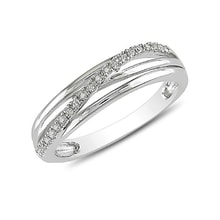 STERLING SILVER RING WITH DIAMONDS - DIAMOND RINGS - RINGS