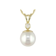 Golden pendant with pearl and diamond - Pearl pendant