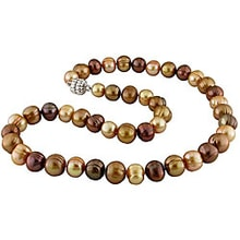NECKLACE MADE OF BROWN  PEARLS - PEARL NECKLACE - PEARLS