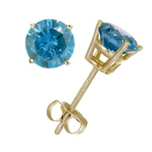 GOLD EARRINGS WITH BLUE DIAMONDS - GOLD EARRINGS - EARRINGS