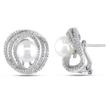 SILVER EARRINGS WITH PEARL AND DIAMONDS - PEARL EARRINGS - PEARLS