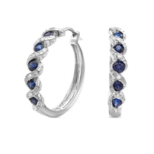 Sapphire and diamond earrings in sterling silver - Sapphire Earrings