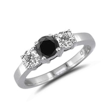 WHITE AND BLACK DIAMONDS GOLD RING - DIAMOND RINGS - RINGS