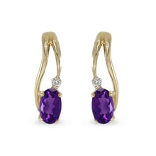 GOLD AMETHYST EARRINGS WITH DIAMONDS - GOLD EARRINGS - EARRINGS