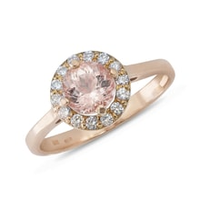 ROSE GOLD RING WITH MORGANITE AND DIAMONDS - HALO ENGAGEMENT RINGS - ENGAGEMENT RINGS
