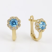 GOLD EARRINGS WITH CUBIC ZIRCONIA FOR KIDS - BLUE - CUBIC ZIRCONIA EARRINGS - EARRINGS