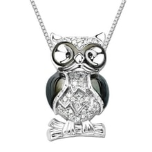SILVER PENDANT IN THE SHAPE OF AN OWL - JEWELLERY BY GEMSTONE