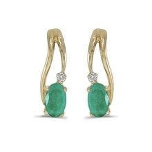 GOLD EMERALD EARRINGS WITH DIAMONDS - GOLD EARRINGS - EARRINGS