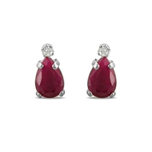 Gold earrings with rubies and diamonds - Ruby earrings