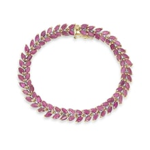 GOLD PLATED BRACELET WITH RUBY ​​DIAMOND - WOMEN'S BRACELETS - JEWELLERY BY KLENOTA