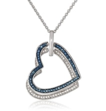 SILVER HEART PENDANT WITH DIAMONDS - HEART PENDANTS - PENDANTS