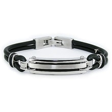 Men's bracelet made of stainless steel and rubber - Jewellery Sale
