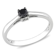 SILVER RING WITH BLACK DIAMOND - ENGAGEMENT RINGS WITH COLOURED DIAMANTÉ - ENGAGEMENT RINGS WITH GEMSTONES