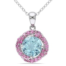 SILVER PENDANT WITH BLUE TOPAZ AND PINK TOURMALINES - TOPAZ PENDANTS - PENDANTS