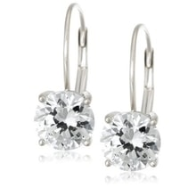 SILVER EARRINGS WITH CZ STONES - CUBIC ZIRCONIA EARRINGS - EARRINGS