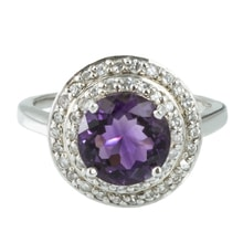 SILVER RING WITH AMETHYST AND CZ - JEWELLERY SALE