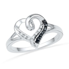 HEARTS SILVER RING WITH DIAMONDS - DIAMOND RINGS - RINGS