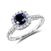 Sapphire 14kt gold ring - Engagement Halo Rings