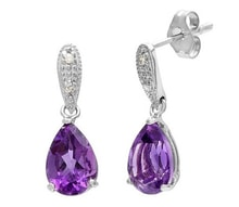 AMETHYST EARRINGS WITH DIAMONDS - AMETHYST EARRINGS - EARRINGS