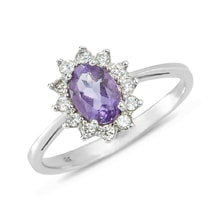 Amethyst and CZ ring in sterling silver - Engagement Halo Rings