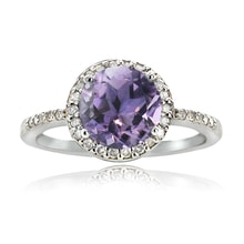 SILVER RING WITH AMETHYST AND DIAMONDS - STERLING SILVER RINGS - RINGS