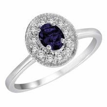 GOLDEN RING WITH SAPPHIRE AND DIAMONDS - SAPPHIRE RINGS - RINGS