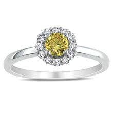 GOLD RING WHITE AND YELLOW DIAMOND - WHITE GOLD RINGS - RINGS