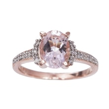 GOLD PLATED SILVER RING WITH DIAMONDS AND MORGANITE - ENGAGEMENT RINGS WITH GEMSTONES