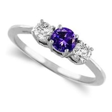 RING WITH TANZANITE AND DIAMONDS - ENGAGEMENT RINGS WITH GEMSTONES