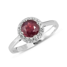 GOLD RING WITH RUBY ​​AND DIAMONDS - HALO ENGAGEMENT RINGS - ENGAGEMENT RINGS