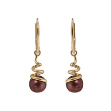 GOLD EARRINGS WITH BROWN PEARLS - PEARL EARRINGS - PEARLS