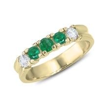 GOLDEN RING WITH EMERALDS AND DIAMONDS - EMERALD RINGS - RINGS