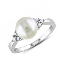 Pearl ring with diamonds, sterling silver - Pearl rings