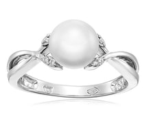 SILVER RING WITH PEARL AND DIAMONDS - PEARL RINGS - PEARLS