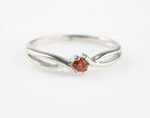 Sterling silver ring with orange sapphire - Sapphire rings