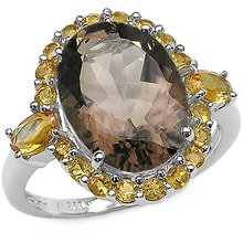 RING WITH CITRINE AND SMOKY QUARTZ - JEWELLERY SALE