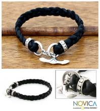 BRACELET MADE OF BRAIDED LEATHER AND STERLING SILVER - JEWELLERY SALE