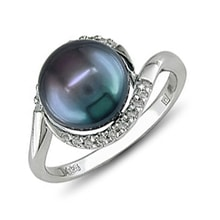 Black pearl sterling silver ring - Pearl Rings