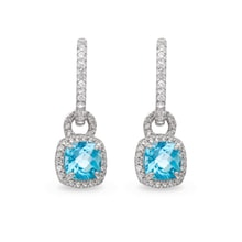STERLING SILVER EARRINGS WITH BLUE TOPAZ AND WHITE SAPPHIRES - STERLING SILVER EARRINGS - EARRINGS