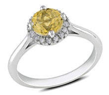 SILVER RING WITH CITRINE AND DIAMONDS - HALO ENGAGEMENT RINGS - ENGAGEMENT RINGS WITH GEMSTONES