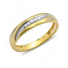 GOLD PLATED MEN RING WITH DIAMONDS - STERLING SILVER RINGS - RINGS