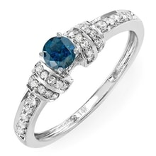 ENGAGEMENT RING WITH BLUE DIAMOND IN WHITE GOLD - ENGAGEMENT RINGS WITH COLOURED DIAMANTÉ - ENGAGEMENT RINGS WITH GEMSTONES